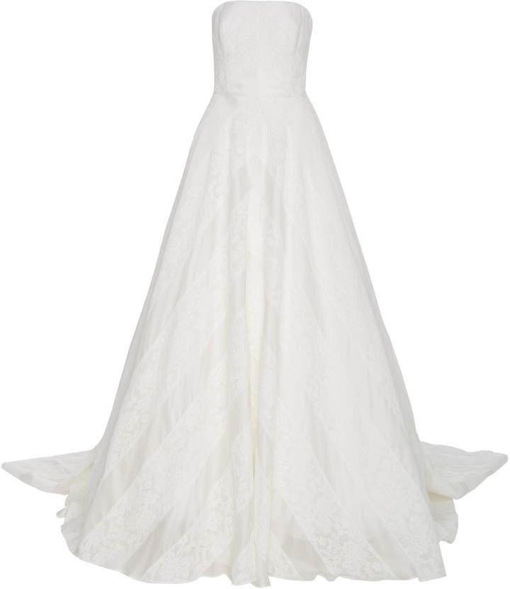 Carolina Herrera Wedding Dress.Bridal Hudson Lace Overlay Open Back Silk Ballgown Si