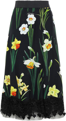 Dolce & Gabbana Guipure Lace-trimmed Floral-print Crepe Midi Skirt