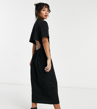 ASOS DESIGN Petite oversized midi t-shirt dress with back detail cut out in black