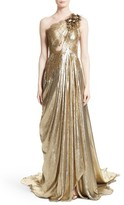 Marchesa Women's Metallic Lace & Lame One-Shoulder Gown