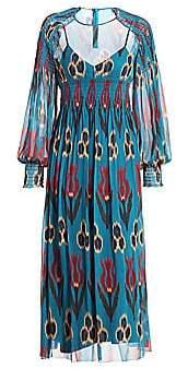RED Valentino Women's Shirred Ikat & Tulip-Print Dress