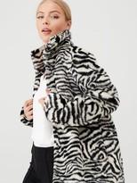 Wallis Zebra Fur Midi Coat - White/Black