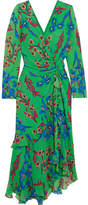 Etro Twist-back Ruffled Asymmetric Floral-print Silk-crepon Midi Dress - Green