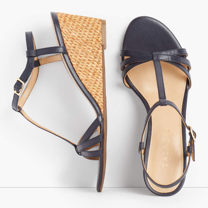 7fc8f884f58 Royce T-Strap Woven Wedges - Nappa Leather