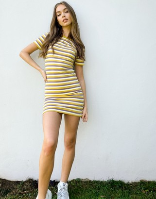 adidas 'Comfy Cords' stripe fitted mini dress in white
