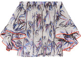 Emilio Pucci Off-the-shoulder Stretch Silk-trimmed Printed Organza Top - White