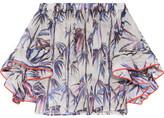Emilio Pucci Off-the-shoulder Stretch Silk-trimmed Printed Organza Top - White