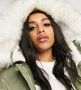 Asos DESIGN Curve luxe parka with faux fur lining in sage-Green