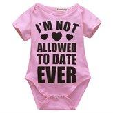 honeys Infant Baby Girl Letter Heart Print Romper Onesie Bodysuit for 0-18Month (S(0-3months), )