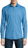 Zachary Prell Long-Sleeve Checked Woven Sport Shirt, Blue
