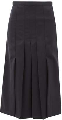 Giuliva Heritage Collection The Verena High-rise Pleated Wool-twill Skirt - Womens - Navy
