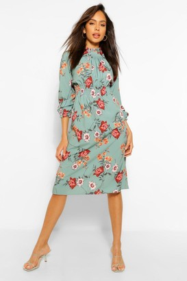 boohoo High Neck Floral Shirred Waist Midi Dress