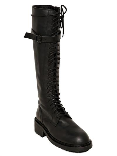 Ann Demeulemeester 50mm Tall Lace Up Calfskin Biker Boots