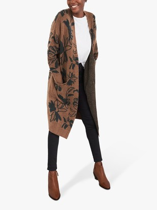 White Stuff Floral Long Cardigan, Light Tan