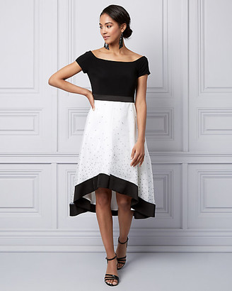 Le Château Dot Print Off-the-Shoulder Party Dress