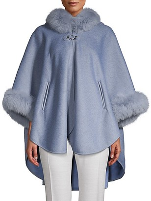 Wolfie Fur Made For Generation Dyed Fox Fur-Trim Cape