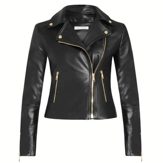 Vivian Black Fitted Leather Biker Jacket