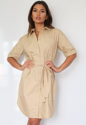 Missguided Beige Belted Shirt Dress