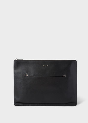 Paul Smith Men's Black Embossed Leather Document Pouch With 'Bright Stripe' Trim