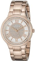 GUESS Women's U0637L3 Dressy Rose Gold-Tone Watch with White Dial , Crystal-Accented Bezel and Stainless Steel Pilot Buckle