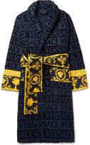 Versace - Satin-Trimmed Logo-Jacquard Cotton-Terry Robe