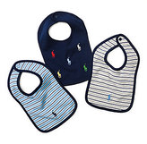 Ralph Lauren 3-Pack Striped & Schiffli Print Bib Set