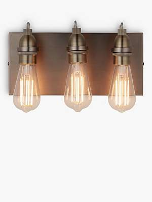John Lewis & Partners Bistro 3 Arm Wall Light, Antique Brass