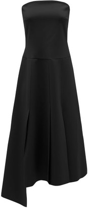 A.W.A.K.E. Mode Strapless Asymmetric Poplin Dress - Black
