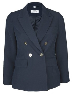 Dorothy Perkins Womens Dp Petites Navy Double Breasted Gold Button Blazer