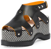 Proenza Schouler Checkerboard Platform Leather Sandal, Black