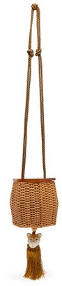 Wai Wai - Fauna Tiger-charm Wicker Cross-body Bag - Womens - Gold Multi