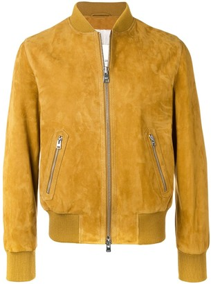 Ami Zipped Suede Jacket With Ribbed Waist and Cuffs
