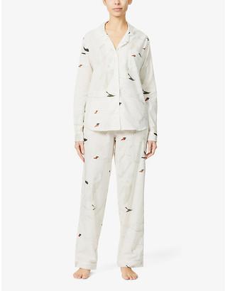 Desmond & Dempsey Leda swan-print organic-cotton pyjama set