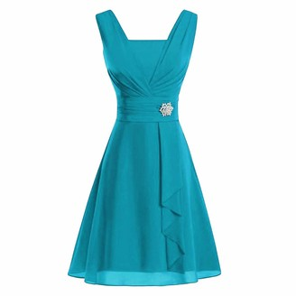 Aiserkly Women's Wedding Bridesmaid Dress High-Waist Party Ball Evening Dress Cocktail Dress Formal Dress Round Neck Short Sleeve Pleated Skirt Mini Dress Knee-Length Dresses Casual Dress X-Blue 2XL