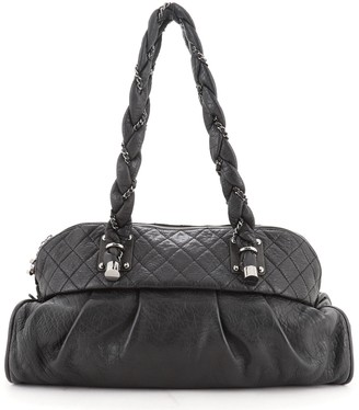 Chanel Lady Braid Zip Shoulder Bag Quilted Distressed Lambskin Large