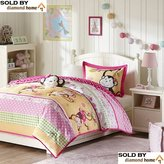 4 Piece Full Queen Monkey Comforter Set, Girls Super Cute Queen Comforter with Beautiful Monkeys Butterflies Flowers Daisys Polka Dots Pattern Safari Vibrant Hues Adorable Soft Plush Bright Colors!