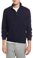 Brunello Cucinelli Solomeo Wool-Blend Polo Sweater, Cobalt