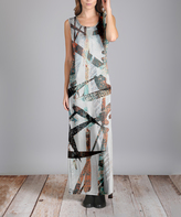 Aster White & Brown Abstract Pocket Maxi Dress - Plus Too