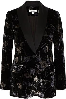 Diane von Furstenberg Tommy floral-print velvet blazer
