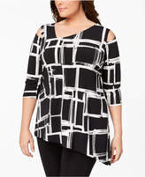Alfani Plus Size Cutout Asymmetrical Tunic, Created for Macy's