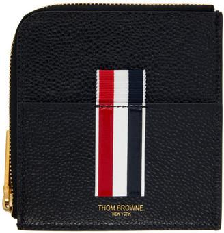 Thom Browne Black Half Zip Around Intarsia Stripe Wallet
