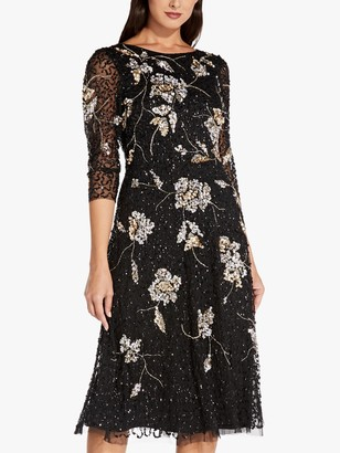Adrianna Papell Beaded A-Line Floral Midi Dress, Black/Gold