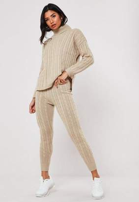 Missguided Stone Co Ord Cable Knit Leggings
