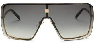 Givenchy Flat-top Shield Metal And Acetate Sunglasses - Womens - Grey Gold