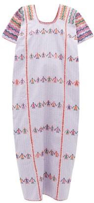 Pippa No.36 Embroidered Cotton Kaftan - Light Purple