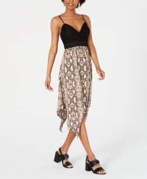Speechless Juniors' Crochet & Animal-Print Dress