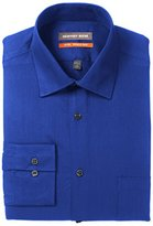 Geoffrey Beene Men's Textured Sateen Fitted Solid Spread Collar Dress Shirt