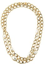 Christian Dior Faux Pearl Station Necklace