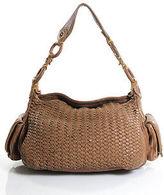 Cole Haan Brown Woven Leather Side Pocket Shoulder Handbag Medium