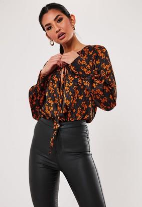 Missguided Black Floral Tie Front Plunge Bodysuit